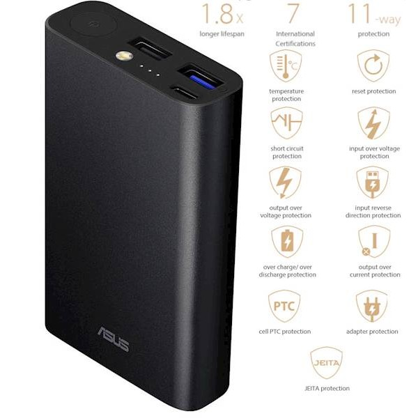 Prenosna baterija ASUS ZenPower 10050C (QC), Triple port, Quick Charge 3.0, USB-C, črna