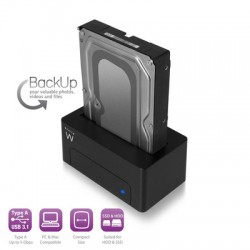 "Ewent EW7012 Docking Station, 2.5"" & 3.5"" SATA, USB 3.1"