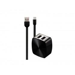 Polnilec REMAX 2.4 A Dual & Lightning kabel RP-U215 EU, 1m (črn)