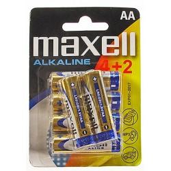 Baterija Maxell AA (LR6), 4+2 kos, alkalna