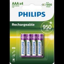 Philips baterije LR03 (AAA), polnilna, 950mAh, 4 kosi