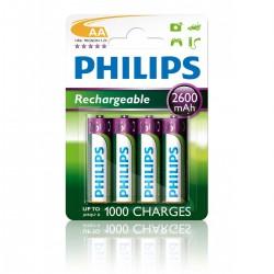 Philips baterije LR6 (AA), polnilna, 2600mAh, 4 kosi