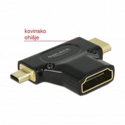 Adapter HDMI-C Mini M / HDMI-D mikro M - HDMI Ž Delock (65666)