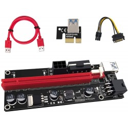 Riser USB 009s x1 --> x16 powered 60cm (sata/molex/PCIE 6pin)