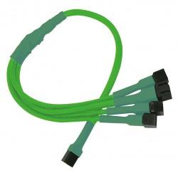 Nanoxia kabel 3-Pin to 4x3-Pin Adapter, 30cm, neon-zelen